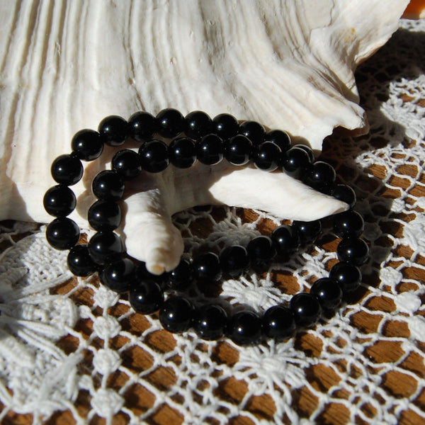 Black Obsidian Beaded Power Bracelet 8mm Natural Gemstone Beads