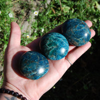Blue Apatite Polished Crystal Palm Stones