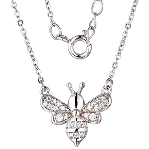 Sterling Silver Rhodium Plated CZ Bee