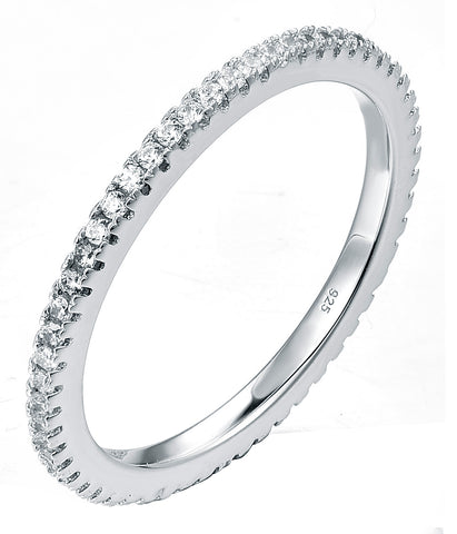 Sterling Silver CZ Thin Ring Silver