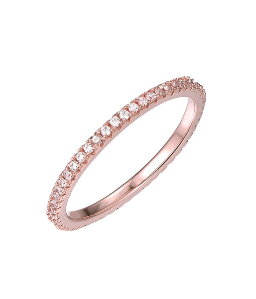 Sterling Silver CZ Thin Ring Rose Gold