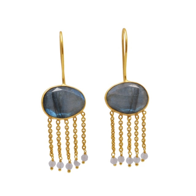 Lucia Exotic Labradorite Earring Gold - SOLD OUT