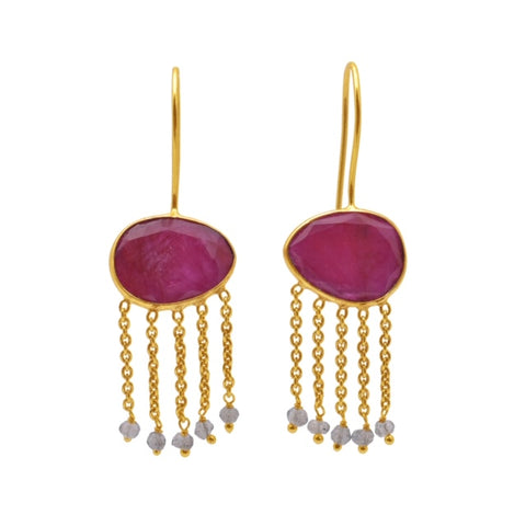 Lucia Exotic Ruby Earring Gold