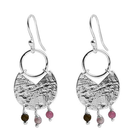 Grace Hammered Finish Silver Gem Earrings - SOLD OUT