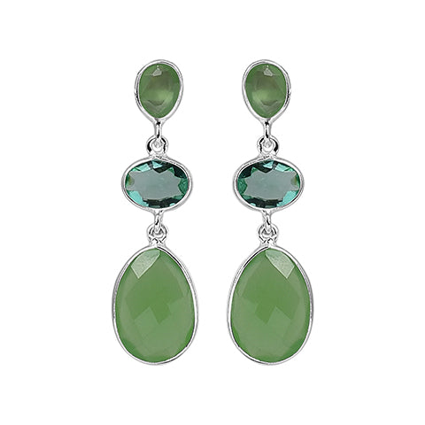 Artisan Earrings Green Quartz