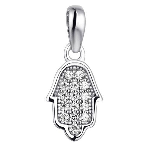 Sterling Silver Petite CZ Hamsa on Chain