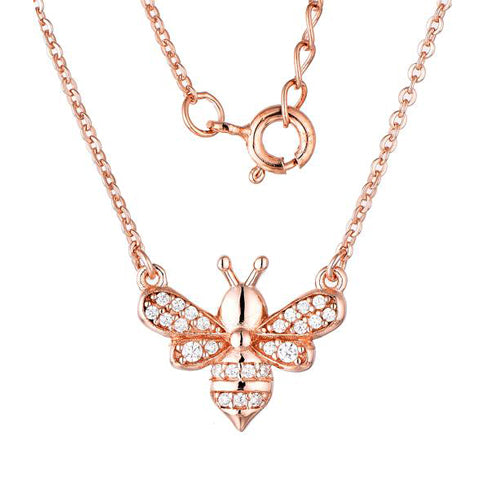 Sterling Silver CZ Bee Rose Gold