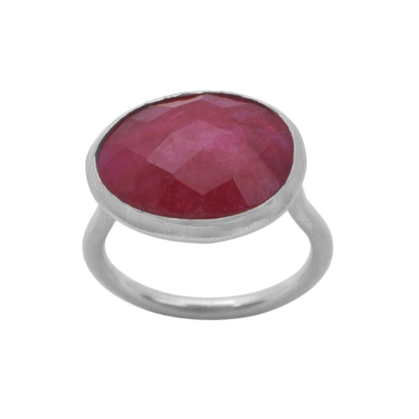 Demi SIlver Ring - Ruby