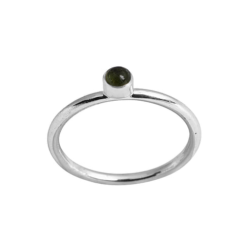 Rosie Silver Ring - Green Tourmaline
