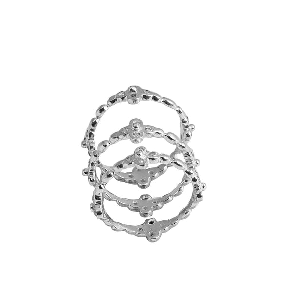 Casablanca CZ Stack Ring Silver