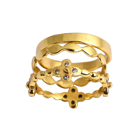 Casablanca Gold CZ Stack Ring