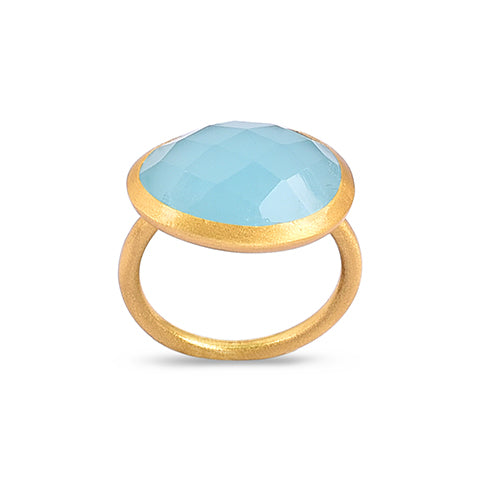 Demi Gold Ring - Aqua Chalcedony