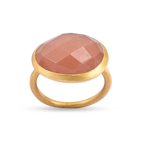 Demi Gold Ring - Peach Moonstone