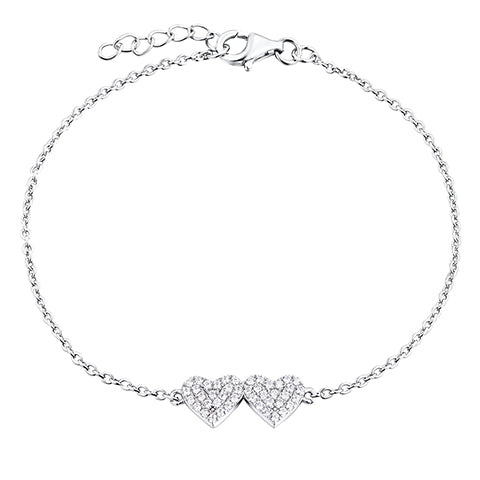 Sterling Silver Double Heart CZ Bracelet