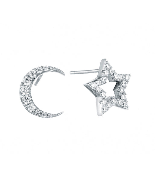 Sterling Silver CZ Moon and Star Studs