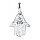 Sterling Silver CZ Solid Hamsa on chain