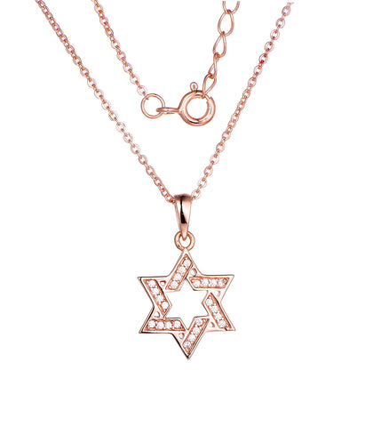 Sterling Silver Rhodium Plated Rose Gold Star of David