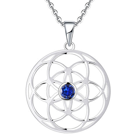 Sterling Silver Mandala Blue CZ Necklace