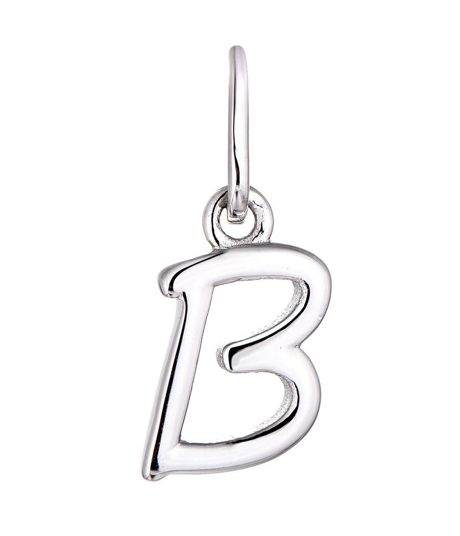 Sterling Silver Rhodium Plated Initial B