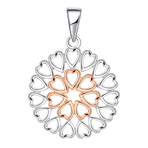 Sterling Silver 2 Tone Heart Pendant on Chain