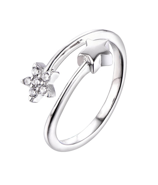 Sterling Silver Star Cross Over Ring