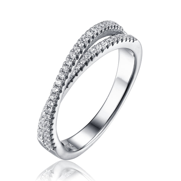 Sterling Silver Luxe Crossover CZ Dress Ring - SOLD OUT