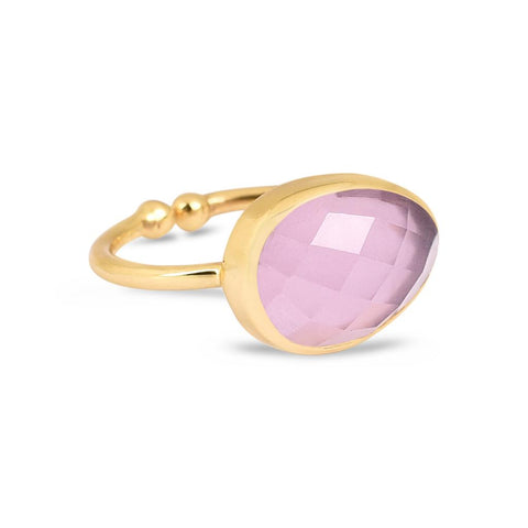 Valentina Gold Ring - Rose Chalcedony