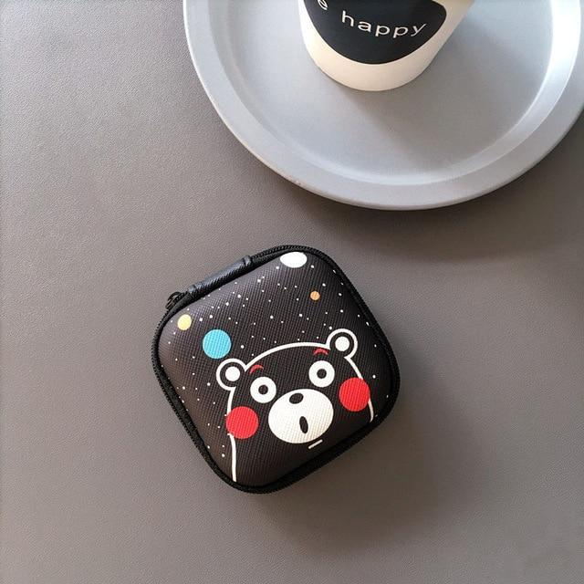 Accessories Black Bear Cute Cartoon Earphone Zipper Case
