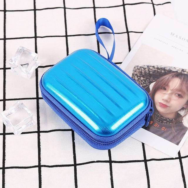 Accessories Blue Colorful Earphone Zipper Case