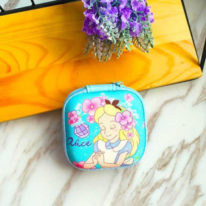 Accessories Blue Princess Cute Cartoon Earphone Zipper Case