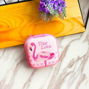 Accessories Flamingo Cute Cartoon Earphone Zipper Case