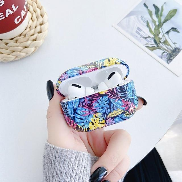 Airpods Case Color 3 Luxury Marble Leaf Pattern AirPods Pro Case