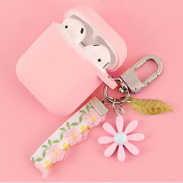 Airpods Case F Cute Korean Flower Decoration AirPods Case