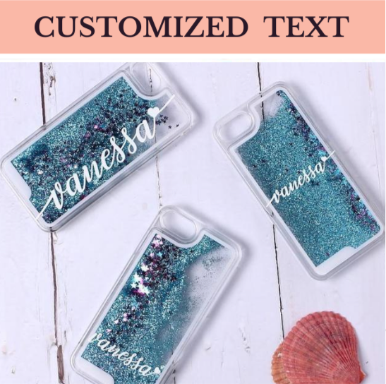 Customized White Text Liquid Glitter Case