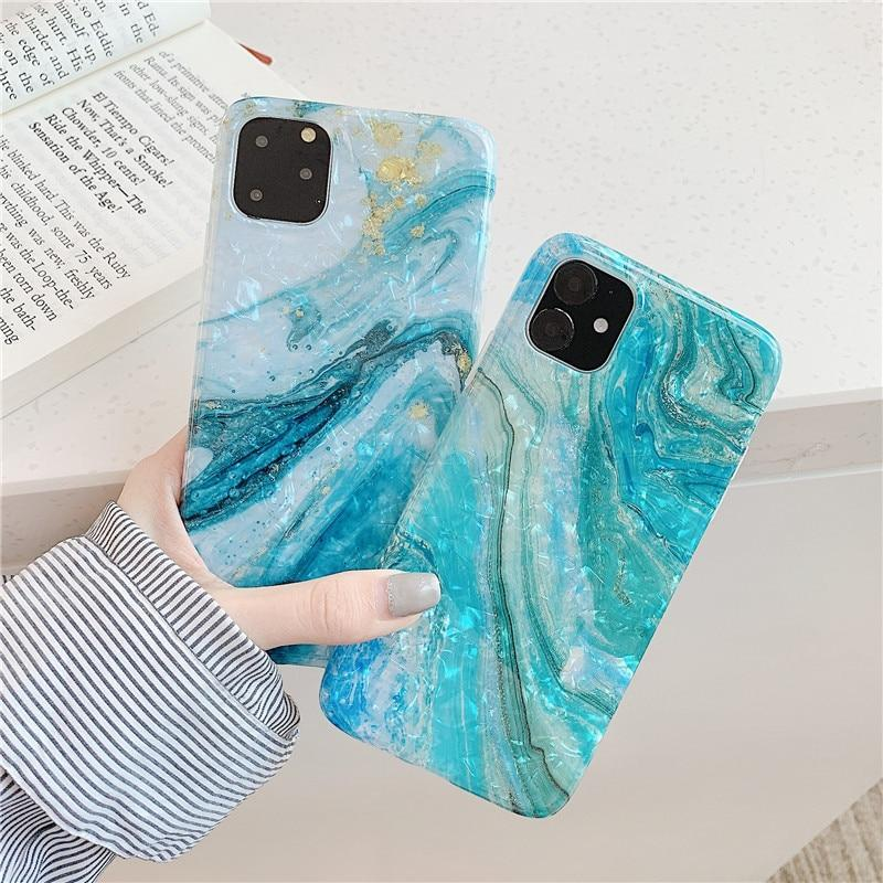 Phone Case Blue Marble Holder Stand Case