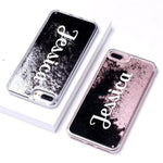 Phone Case For iPhone 7 8 / Font 2-Black Glitter Customized Liquid Glitter Case