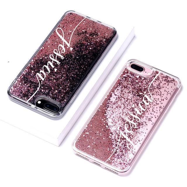 Phone Case For iPhone 7 8 / Font 3-Rose Gold Customized Liquid Glitter Case