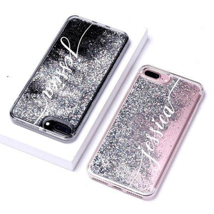 Phone Case For iPhone 7 8 / Font 3-Silver Customized Liquid Glitter Case