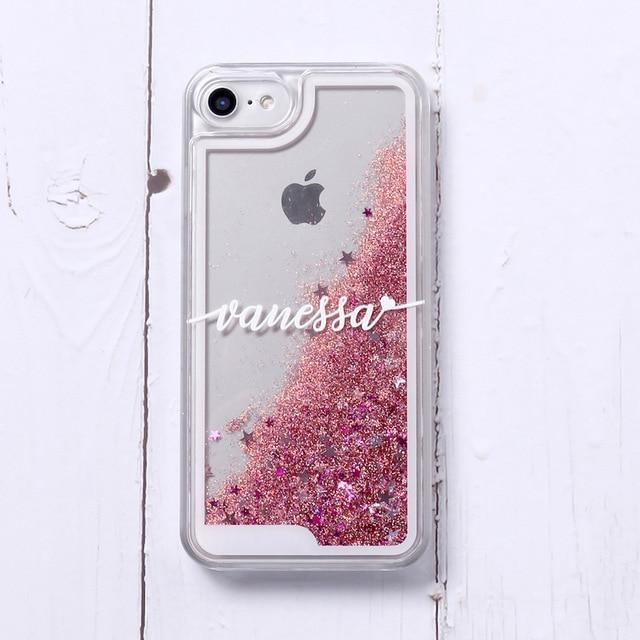 Phone Case For iPhone 7Plus / No2- Red Glitter Customized White Text Glitter Case