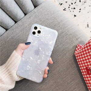 Phone Case For iPhone X or XS / White Glitter Dream Shell Pattern Case