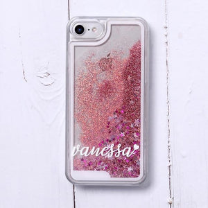 Phone Case For iPhone X XS / No3- Red Glitter Customized White Text Glitter Case