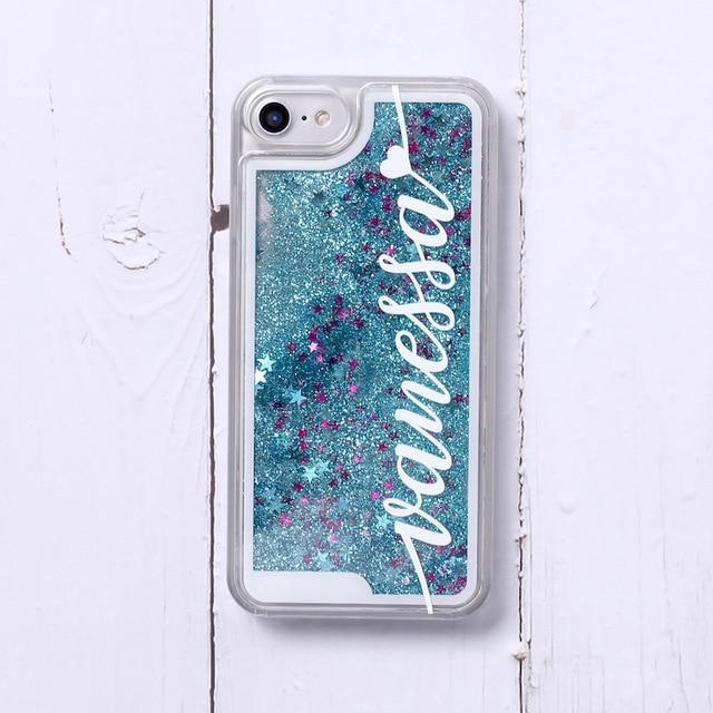 Phone Case For iPhone XS Max / No1- Blue Glitter Customized White Text Glitter Case