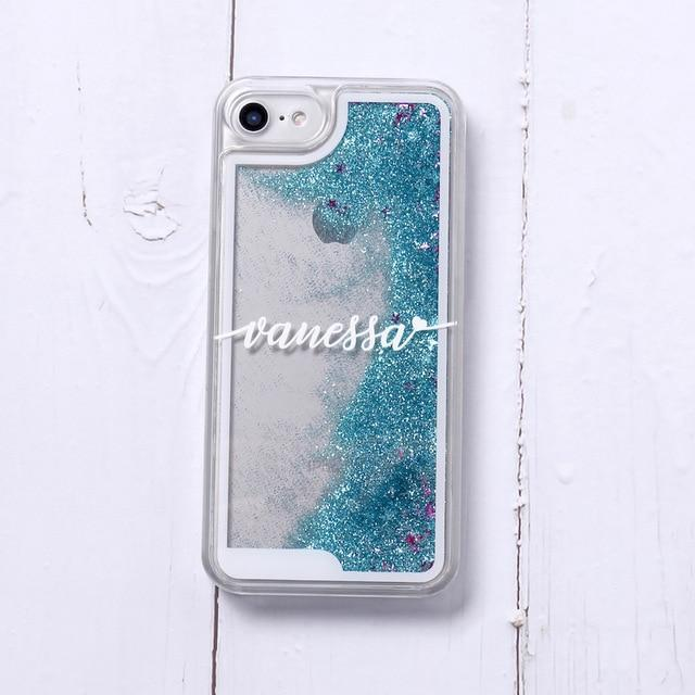 Phone Case For iPhone XS Max / No2- Blue Glitter Customized White Text Glitter Case