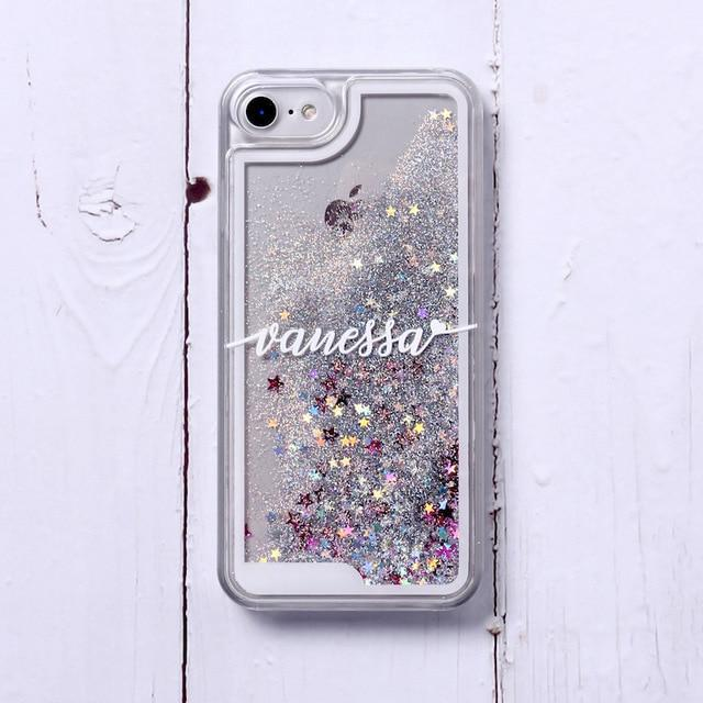 Phone Case For iPhone XS Max / No2- Silver Glitter Customized White Text Glitter Case
