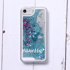 Phone Case For iPhone XS Max / No3- Blue Glitter Customized White Text Glitter Case