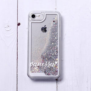 Phone Case For iPhone XS Max / No3- Silver Glitter Customized White Text Glitter Case