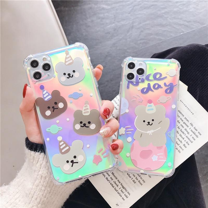 Phone Case Holographic Laser Cute Bear Case