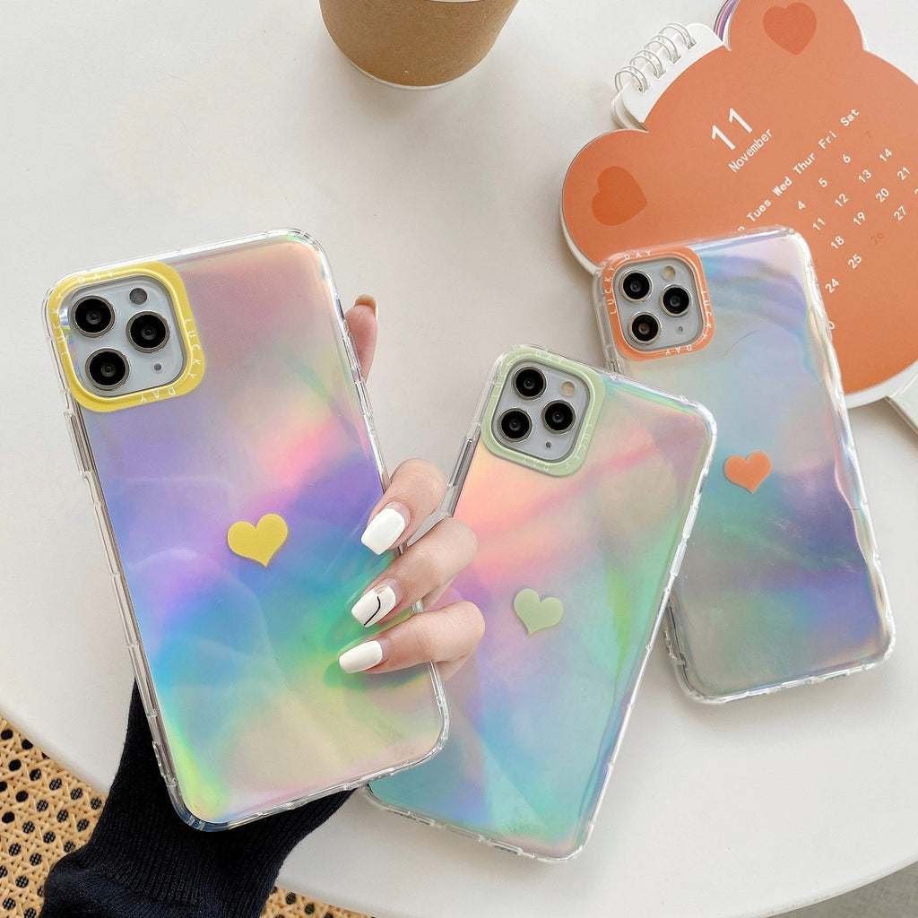 Phone Case Love Heart Rainbow Laser Holographic Case