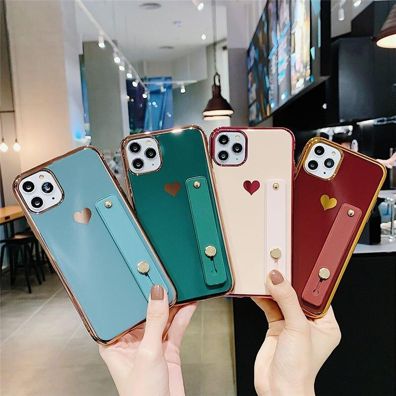 Phone Case Love Heart Wrist Strap Electroplated Bumper Case