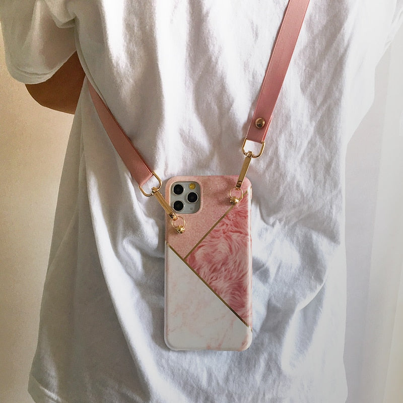 Geometric Marble with Crossbody Strap Case